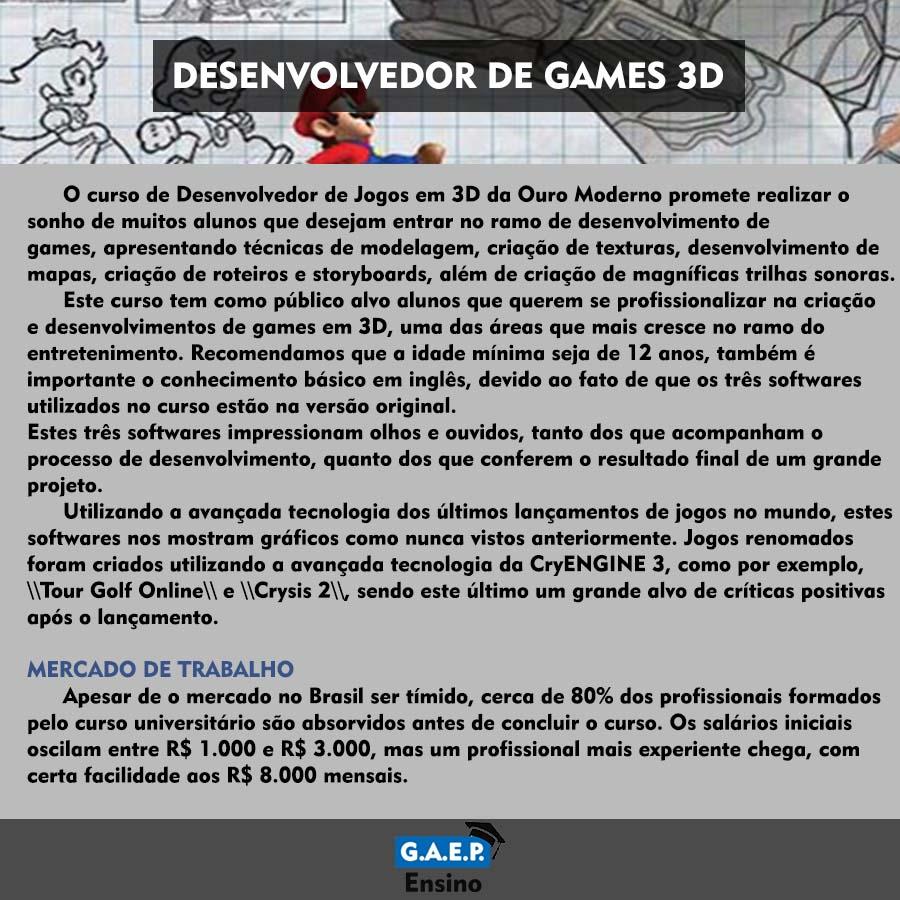 Explicação Desenvolvedor de Games Oficial